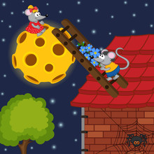 Mouse Climbs The Ladder To The Moon - Vector Illustration, Eps