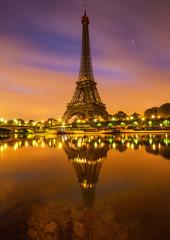 Panel Szklany Miasto nocą Tour Eiffel Paris