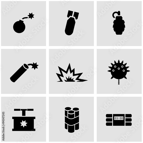 Vector black bomb icon set Poster