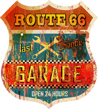 Retro Route 66 Garage Sign, Vector