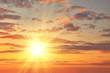 Golden sunset with sun rays