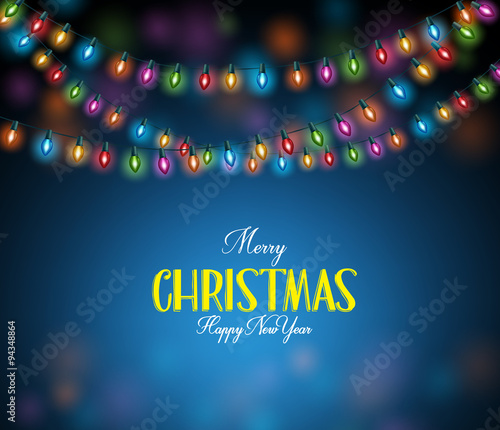 Merry Christmas Greetings with Realistic 3D Colorful Christmas Lights Hanging in Dark Night Background. Vector Illustration  Wall mural