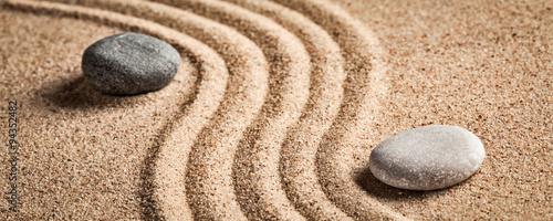 Deurstickers Stenen in het Zand Japanese Zen stone garden