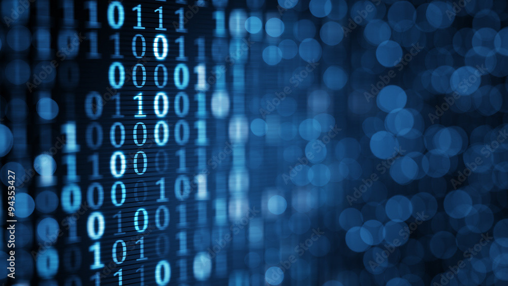 Fototapeta blue digital binary data on computer screen