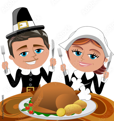 Photo Happy Man and Woman Pilgrims eating Roasted Turkey isolated