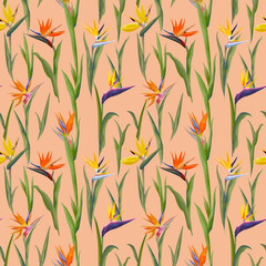 Tropical Flowers and Leaves Background - Vintage Seamless Pattern