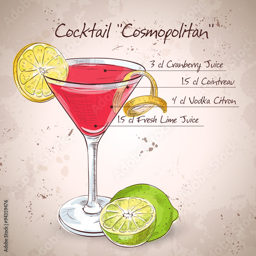 Valokuvatapetti Red Cosmopolitan Cocktail