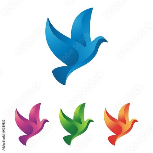 flying bird logo design abstract vector template dove pigeon