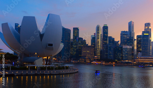 Photo  View of city Singapore at sunset