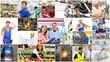 canvas print picture - Collage mit verschiedenen Berufen - Arbeiter im Handel,Industrie,Logistik,Managment, Handwerk,...