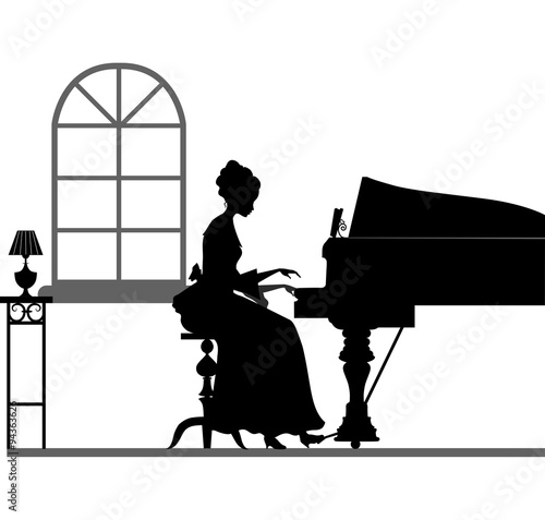 Foto op Aluminium Vogels in kooien Silhouette of woman, which plays piano