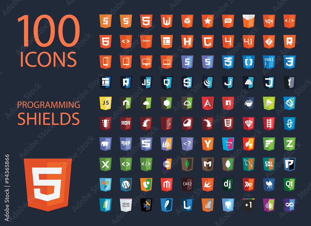 Fototapeta vector collection of web development shield signs, one hundred isolated icons html5 style programming technology