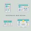 Responsive web design mockup template vector background. Smartphone, tablet, computer website layout