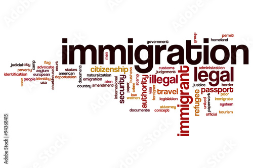 Valokuvatapetti Immigration word cloud concept