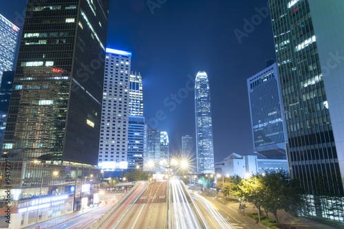 Photo  Hong Kong Night Car Trail