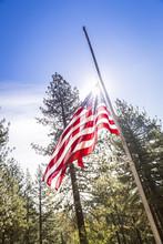 Dramatic Half Mast American Flag