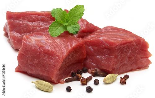 Fotografie, Obraz  Raw beef with spices