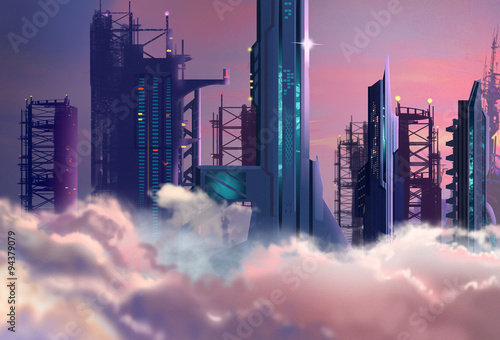 Illustration: The Future City Built High into the Clouds in 2048. Realistic Cartoon Style. Sci-Fi Scene / Wallpaper / Background Design. - 94379079