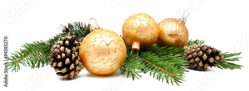 Valokuvatapetti Christmas decoration balls with fir cones
