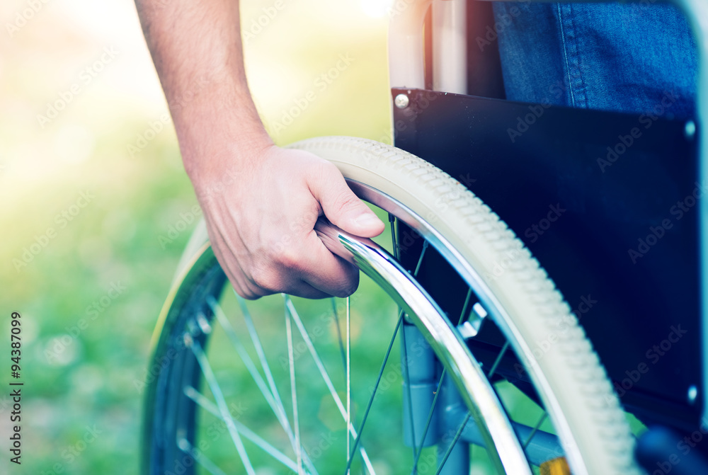 Fototapety, obrazy: Disabled man on a wheelchair