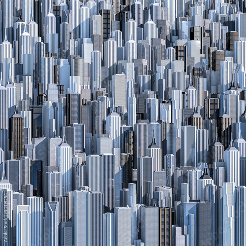Tall city background / 3D render of daytime modern city filling image