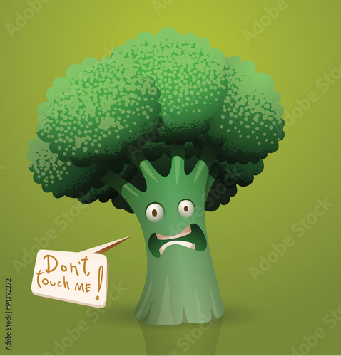 vector scared cartoon broccoli vector cartoon scared green broccoli on a green background with speech bubble handwritten text in curves buy this stock vector and explore similar vectors at adobe stock adobe stock