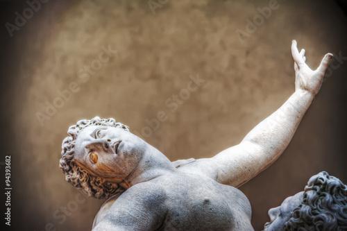 Ratto delle Sabine statue in Loggia de Lanzi in Florence Canvas Print