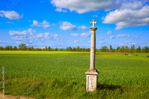 The Way of Saint James cross column in Palencia