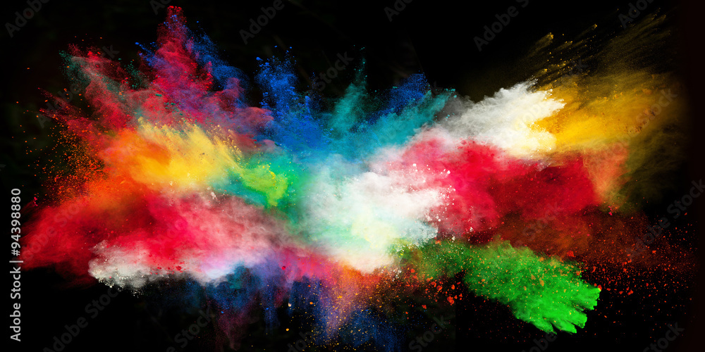 Fototapety, obrazy: Launched colorful powder on black background