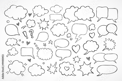 Fototapeta Hand drawn thought and speech bubbles and balloons