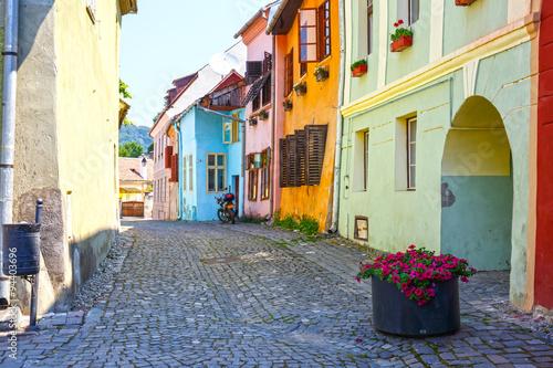 Fotografie, Obraz  Medieval street view Sighisoara, Rumunsko
