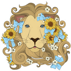 Fototapetalovely lion coloring page