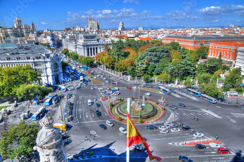 Recess Fitting Madrid MADRID, SPAIN, OCT 5: traffic at Plaza de Cibeles as can be seen from the top of the Cybele Palace (City Hall), in HDR in Madrid, Spain, Oct 5, 2015