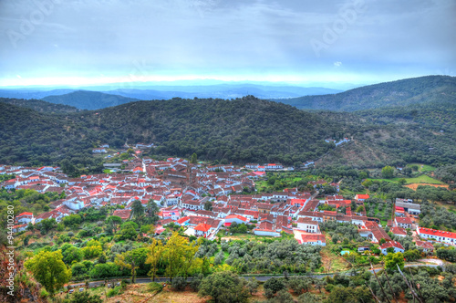 Aerial view of the pastoral village of Alajar in the province of Huelva, Spain in HDR