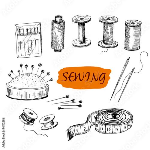 Fototapeta Sewing. Set of illustrations obraz na płótnie