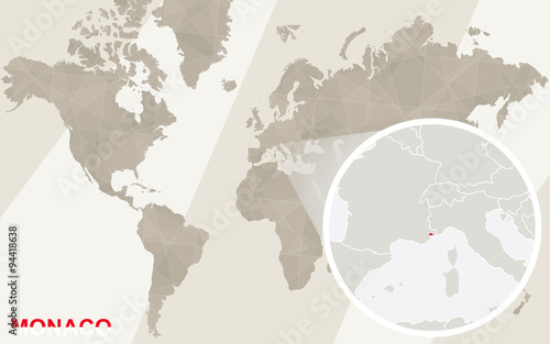Zoom On Monaco Map And Flag World Map Buy This Stock Vector And