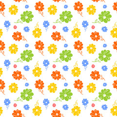 Colorful flowers seamless background