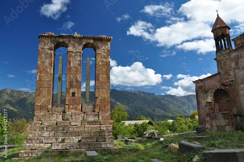 Montage in der Fensternische Denkmal Monument - gravestone in Odzun monastery. Armenia