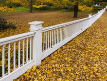 White Fence Along Suburban Property