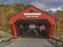 Red Covered Bridge Entrance In Taftsville,Vermont, USA