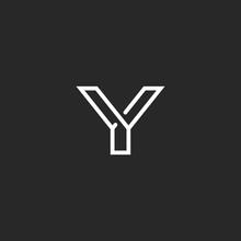 Y Letter Logo Monogram, Thin Line Design Element, Mockup Black And White Hipster Wedding Invitation Emblem