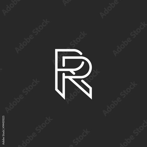 Photo  Letter R logo monogram, mockup hipster black and white design element, wedding i