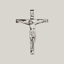 Jesus On The Cross. Hand Drawn.