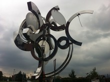 Metal Sculpture With A Mirrors In Front Of The Hotel Vitality In Vendryně, Czech Republic