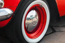 Wheel Of Retro Cars With Chrome Cap