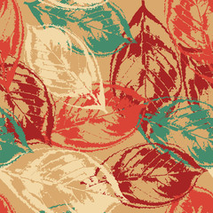 FototapetaGrunge pattern with leaves on warm background