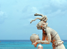 Mayan Snake Queen Statue/ Mayan Snake Statue Is About 500 Years Old And Was Dedicated To The Snake Queen In Cozumel Mexico.