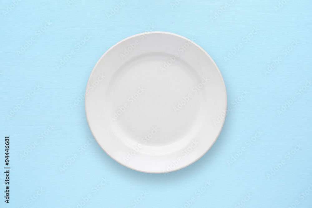 Fotografie, Obraz White empty plate top view on table
