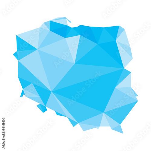 Fotografie, Obraz  blue polygonal vector map of Poland