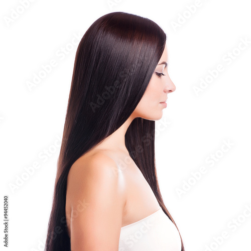 Photo  Brown Hair.Beautiful Woman with Straight Long Hair